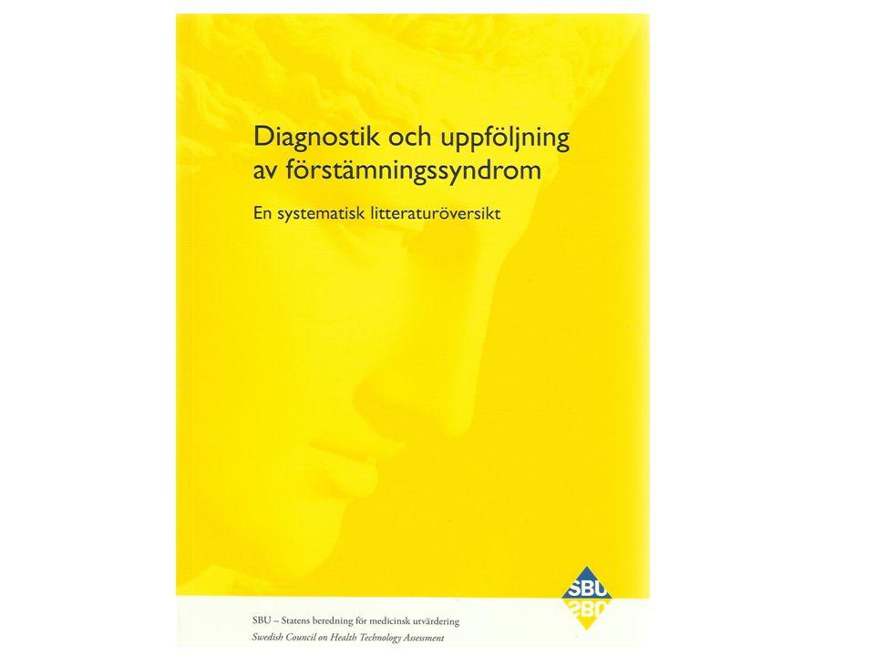 Kunskapsläget om tillförlitligheten av intervjuer, formulär för screening och svårighetsgrad är oklart Diagnostik saknas i såväl SBU:s depressionsrapport som Socialstyrelsens Nationella Riktlinjer Minst 60 formulär används i Sverige idag Praxis varierar mycket 7 Bakgrund