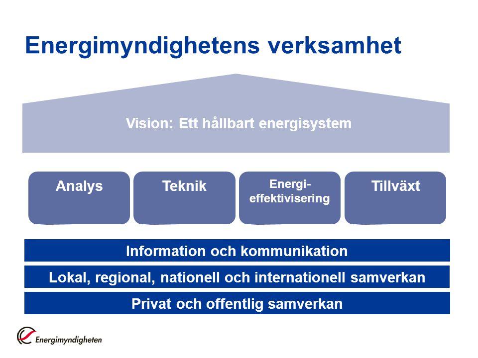 Information och kommunikation Privat och offentlig samverkan Lokal, regional, nationell och internationell samverkan AnalysTeknik Energi- effektiviser