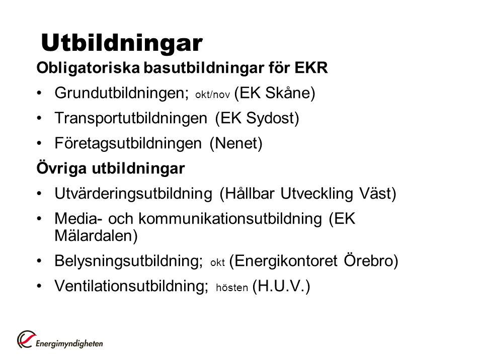 Utbildningar Obligatoriska basutbildningar för EKR Grundutbildningen; okt/nov (EK Skåne) Transportutbildningen (EK Sydost) Företagsutbildningen (Nenet