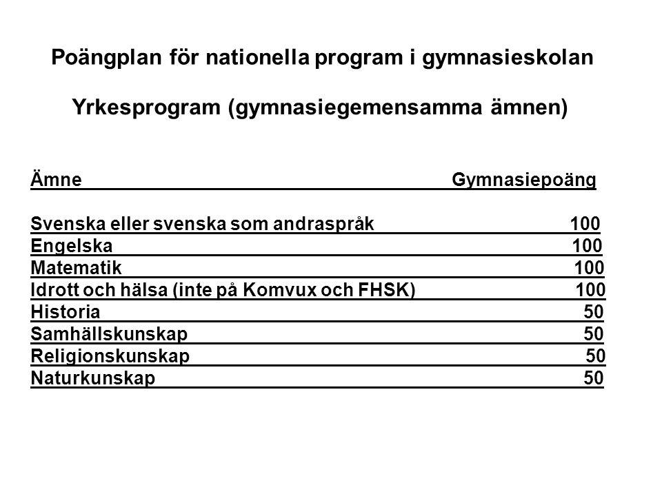 Poängplan för nationella program i gymnasieskolan Ämne Gymnasiepoäng Svenska eller svenska som andraspråk 100 Engelska 100 Matematik 100 Idrott och hä