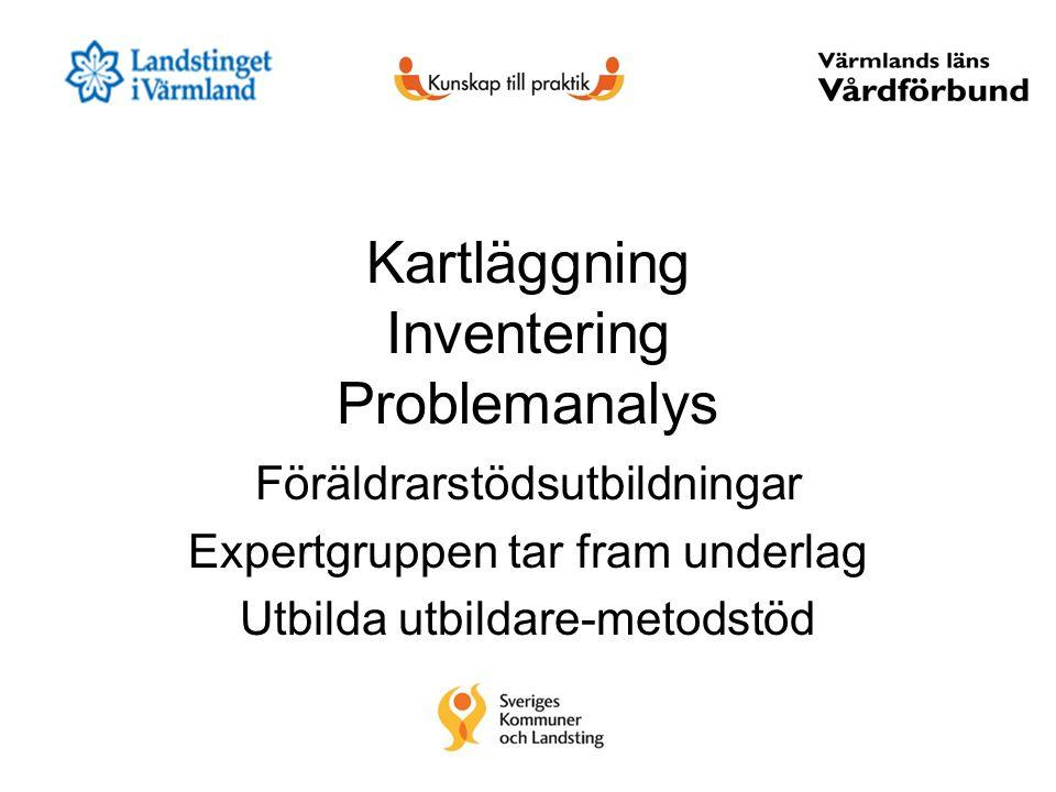 Kartläggning Inventering Problemanalys Föräldrarstödsutbildningar Expertgruppen tar fram underlag Utbilda utbildare-metodstöd