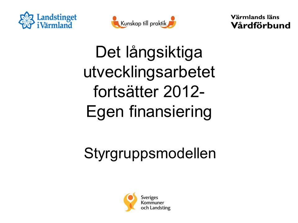 Det långsiktiga utvecklingsarbetet fortsätter 2012- Egen finansiering Styrgruppsmodellen