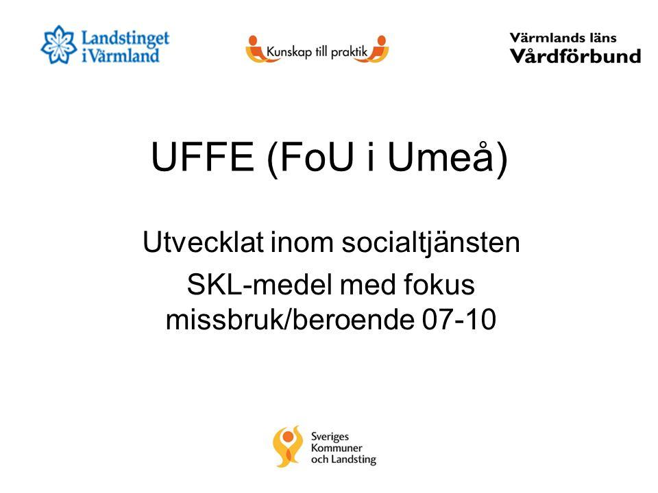 UFFE (FoU i Umeå) Utvecklat inom socialtjänsten SKL-medel med fokus missbruk/beroende 07-10
