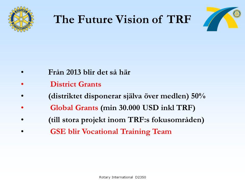 The Future Vision of TRF Från 2013 blir det så här District Grants (distriktet disponerar själva över medlen) 50% Global Grants (min 30.000 USD inkl T