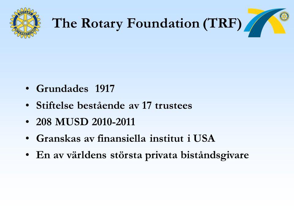 The Rotary Foundation (TRF) Grundades 1917 Stiftelse bestående av 17 trustees 208 MUSD 2010-2011 Granskas av finansiella institut i USA En av världens