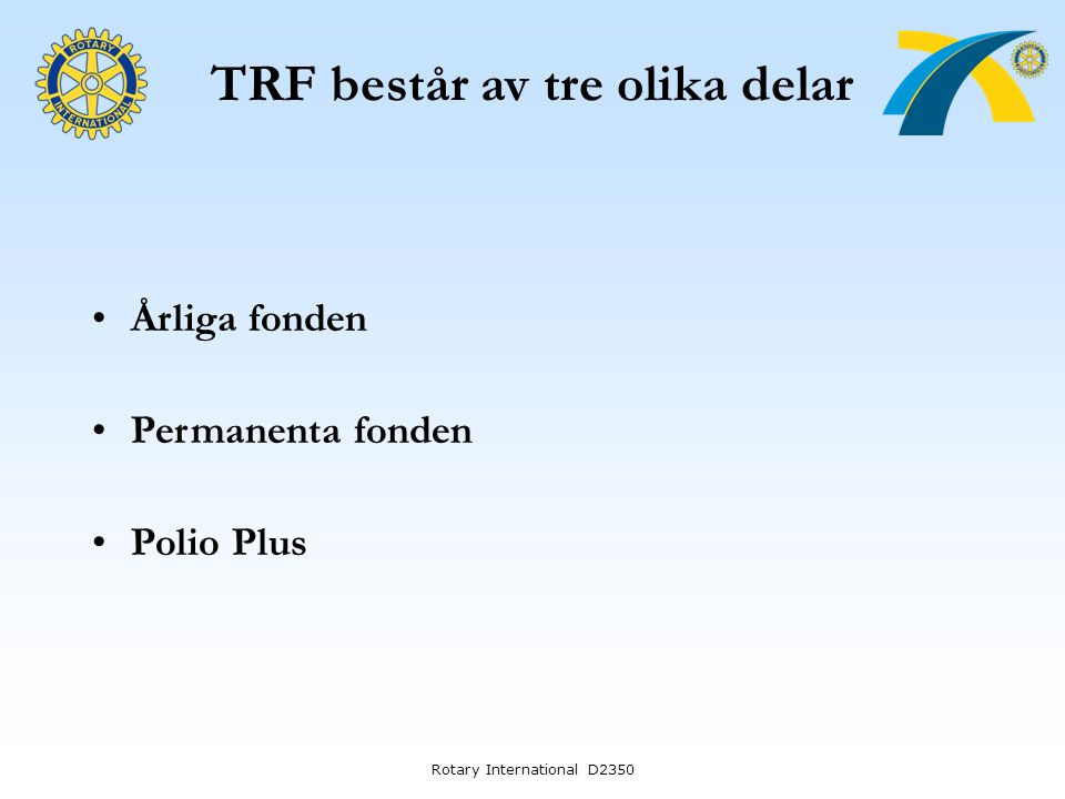 TRF består av tre olika delar Rotary International D2350 Årliga fonden Permanenta fonden Polio Plus