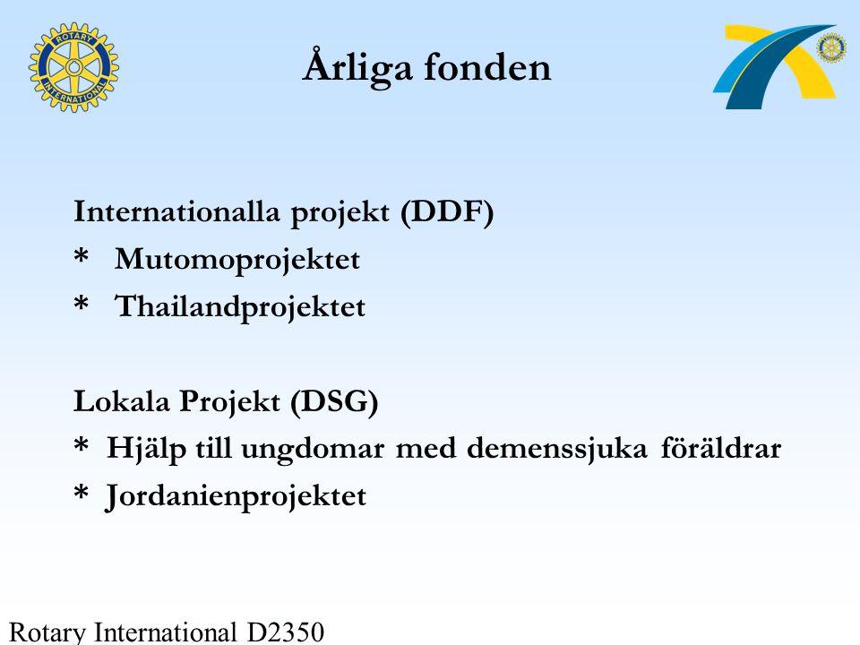 Rotary International D2350 Årliga fonden Internationalla projekt (DDF) * Mutomoprojektet * Thailandprojektet Lokala Projekt (DSG) * Hjälp till ungdoma
