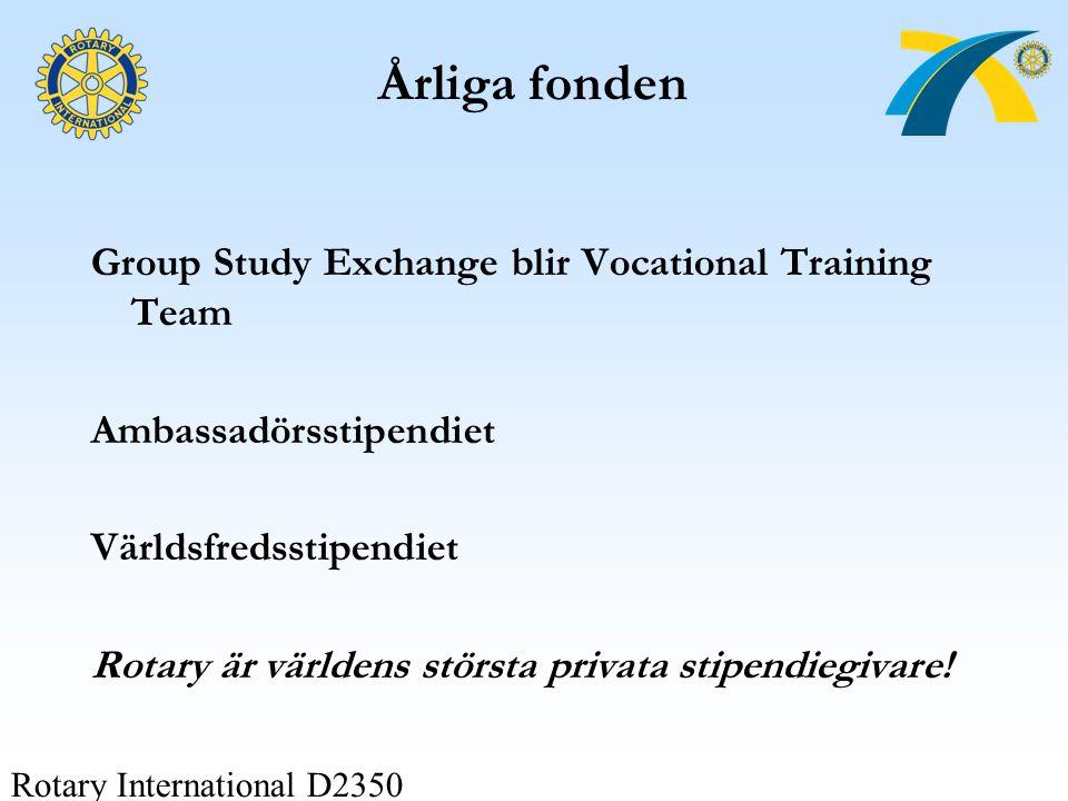 Rotary International D2350 Årliga fonden Group Study Exchange blir Vocational Training Team Ambassadörsstipendiet Världsfredsstipendiet Rotary är värl