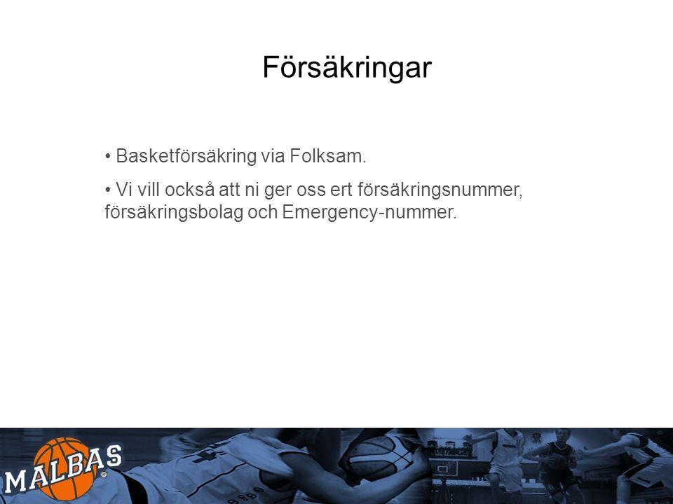 Försäkringar Basketförsäkring via Folksam.