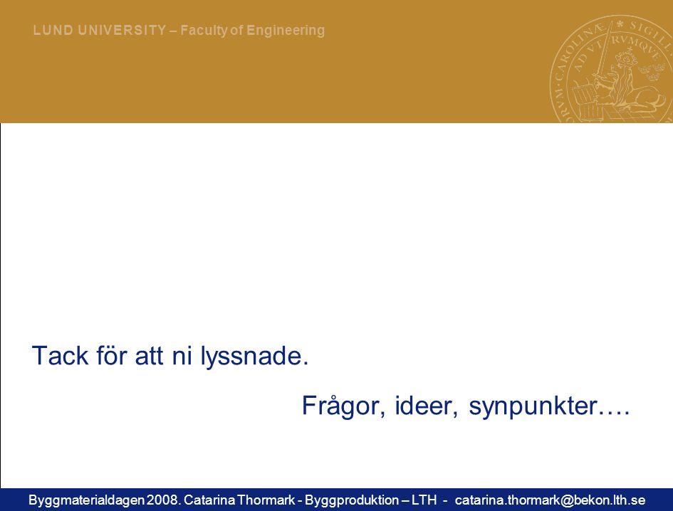 21 L U N D U N I V E R S I T Y – Faculty of Engineering Tack för att ni lyssnade.