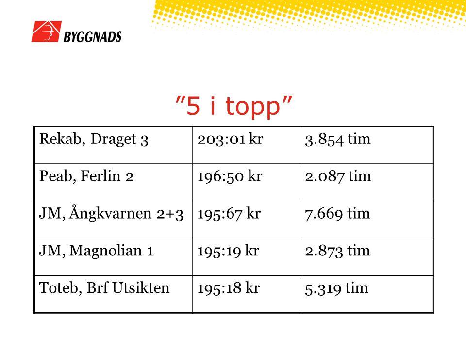 5 i topp Rekab, Draget 3203:01 kr3.854 tim Peab, Ferlin 2196:50 kr2.087 tim JM, Ångkvarnen 2+3195:67 kr7.669 tim JM, Magnolian 1195:19 kr2.873 tim Toteb, Brf Utsikten195:18 kr5.319 tim