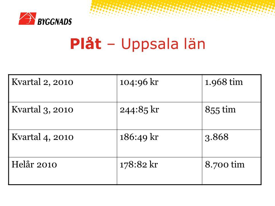 Plåt – Uppsala län Kvartal 2, 2010104:96 kr1.968 tim Kvartal 3, 2010244:85 kr855 tim Kvartal 4, 2010186:49 kr3.868 Helår 2010178:82 kr8.700 tim