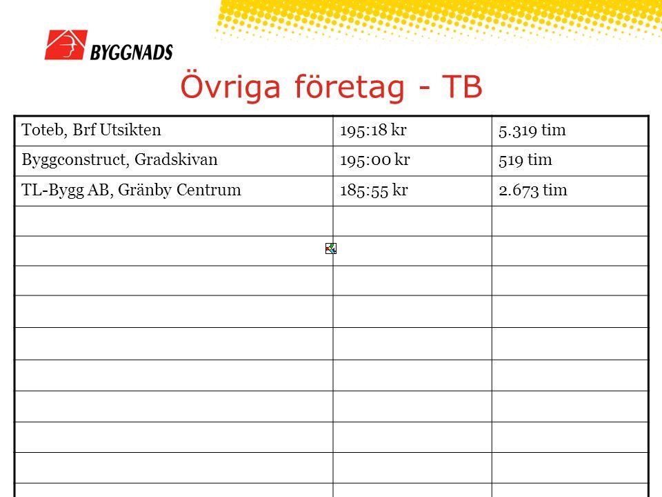 Övriga företag - TB Toteb, Brf Utsikten195:18 kr5.319 tim Byggconstruct, Gradskivan195:00 kr519 tim TL-Bygg AB, Gränby Centrum185:55 kr2.673 tim