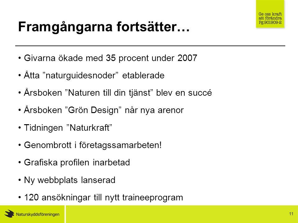 """11 Framgångarna fortsätter… Givarna ökade med 35 procent under 2007 Åtta """"naturguidesnoder"""" etablerade Årsboken """"Naturen till din tjänst"""" blev en succ"""