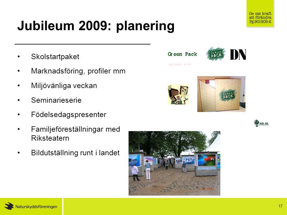 17 Jubileum 2009: planering Skolstartpaket Marknadsföring, profiler mm Miljövänliga veckan Seminarieserie Födelsedagspresenter Familjeföreställningar med Riksteatern Bildutställning runt i landet