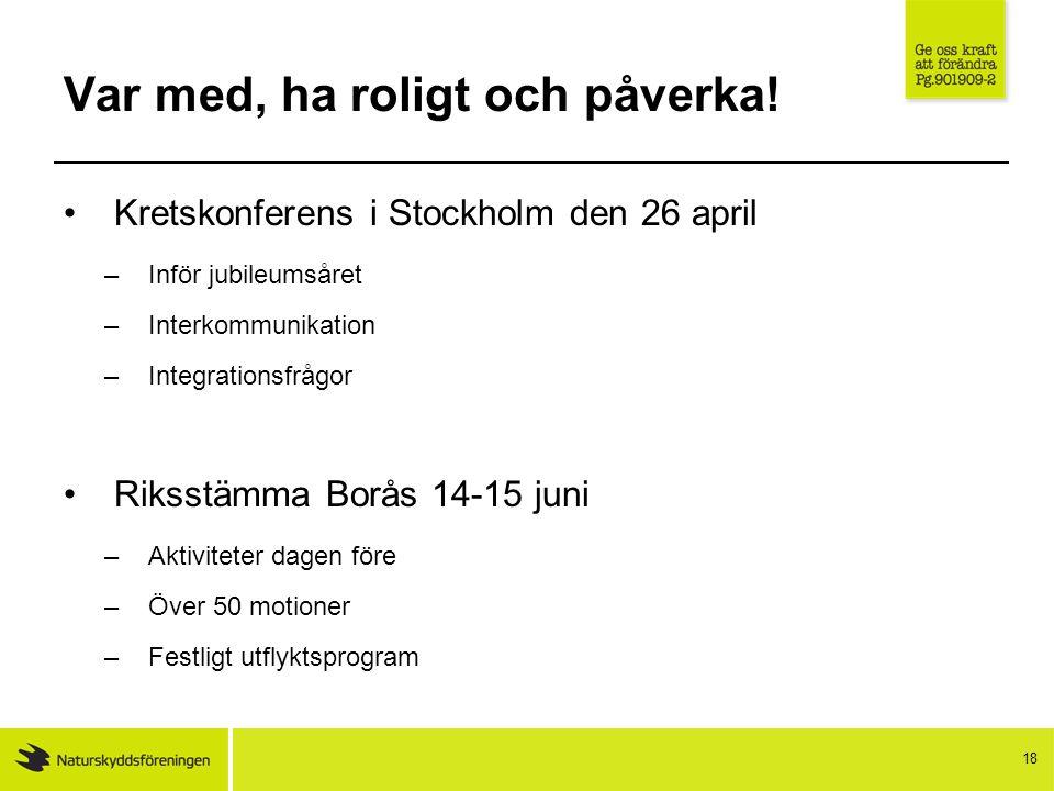 18 Var med, ha roligt och påverka! Kretskonferens i Stockholm den 26 april –Inför jubileumsåret –Interkommunikation –Integrationsfrågor Riksstämma Bor