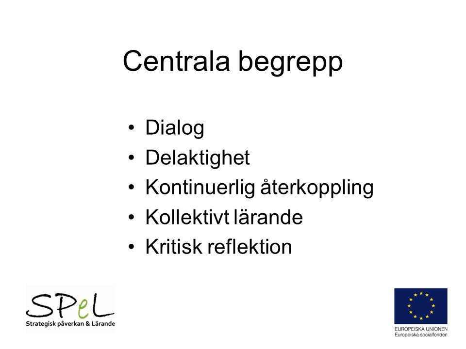 Centrala begrepp Dialog Delaktighet Kontinuerlig återkoppling Kollektivt lärande Kritisk reflektion