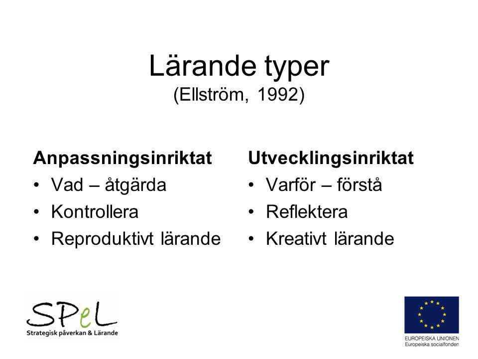 Lärande typer (Ellström, 1992) Anpassningsinriktat Vad – åtgärda Kontrollera Reproduktivt lärande Utvecklingsinriktat Varför – förstå Reflektera Kreat