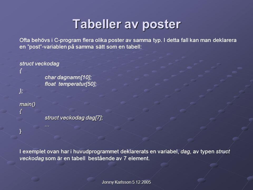 Jonny Karlsson 5.12.2005 Tabeller av poster Ofta behövs i C-program flera olika poster av samma typ.