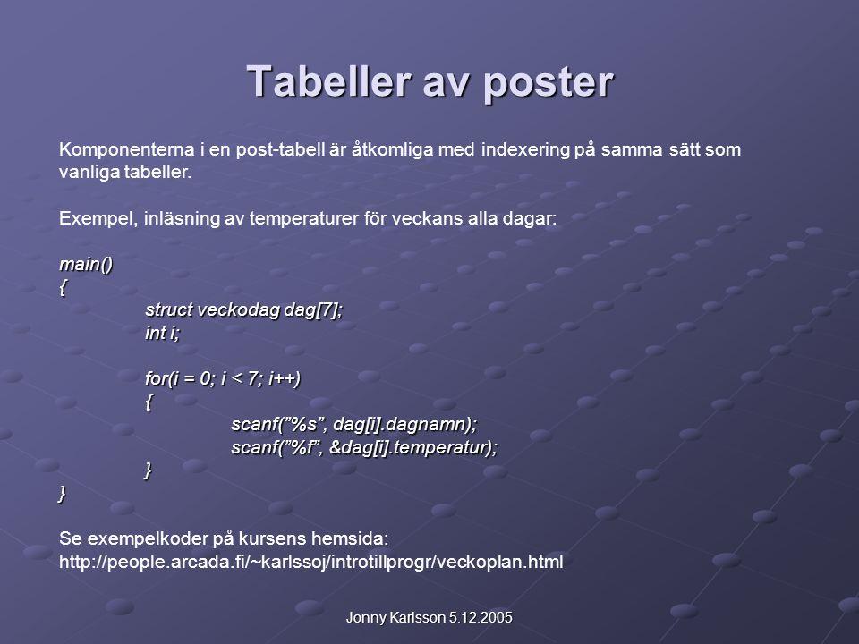 Jonny Karlsson 5.12.2005 Tabeller av poster Komponenterna i en post-tabell är åtkomliga med indexering på samma sätt som vanliga tabeller.