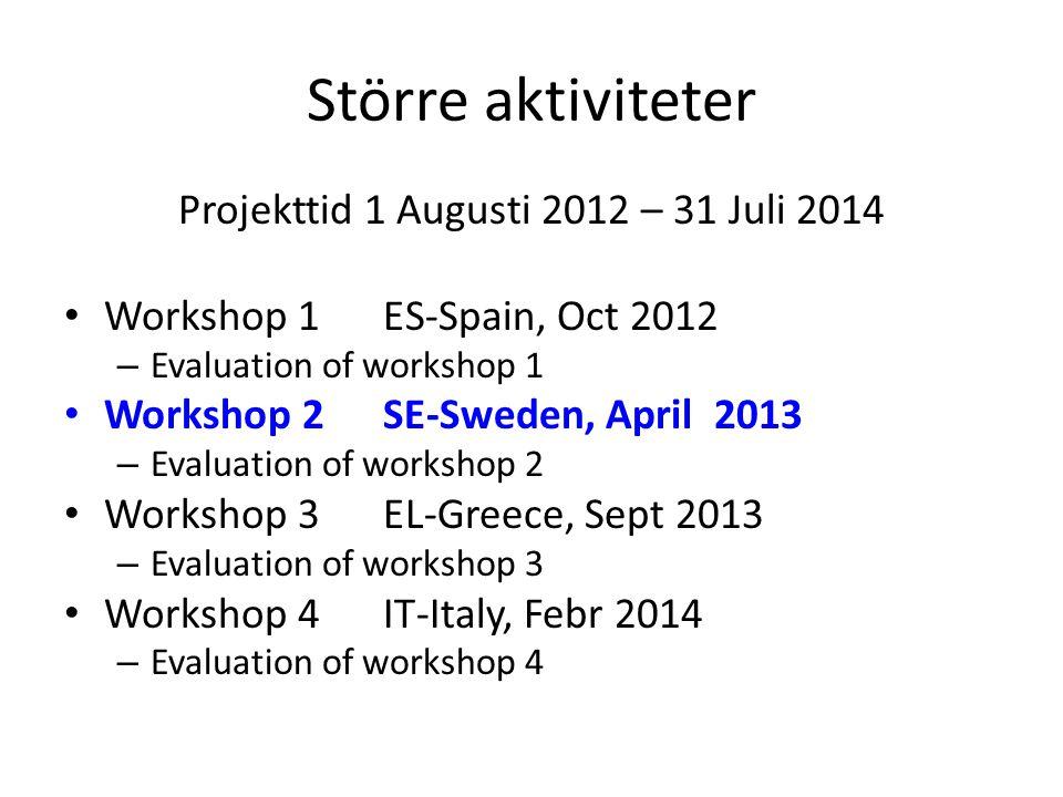 Större aktiviteter Projekttid 1 Augusti 2012 – 31 Juli 2014 Workshop 1 ES-Spain, Oct 2012 – Evaluation of workshop 1 Workshop 2 SE-Sweden, April 2013