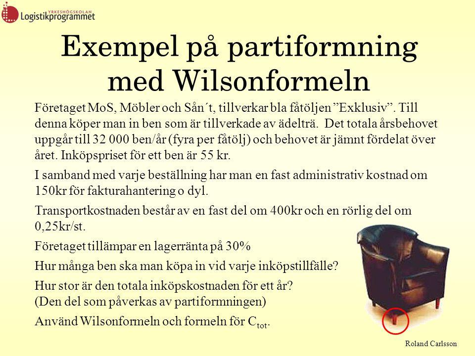 Roland Carlsson Exempel på partiformning med Wilsonformeln Företaget MoS, Möbler och Sån´t, tillverkar bla fåtöljen Exklusiv .