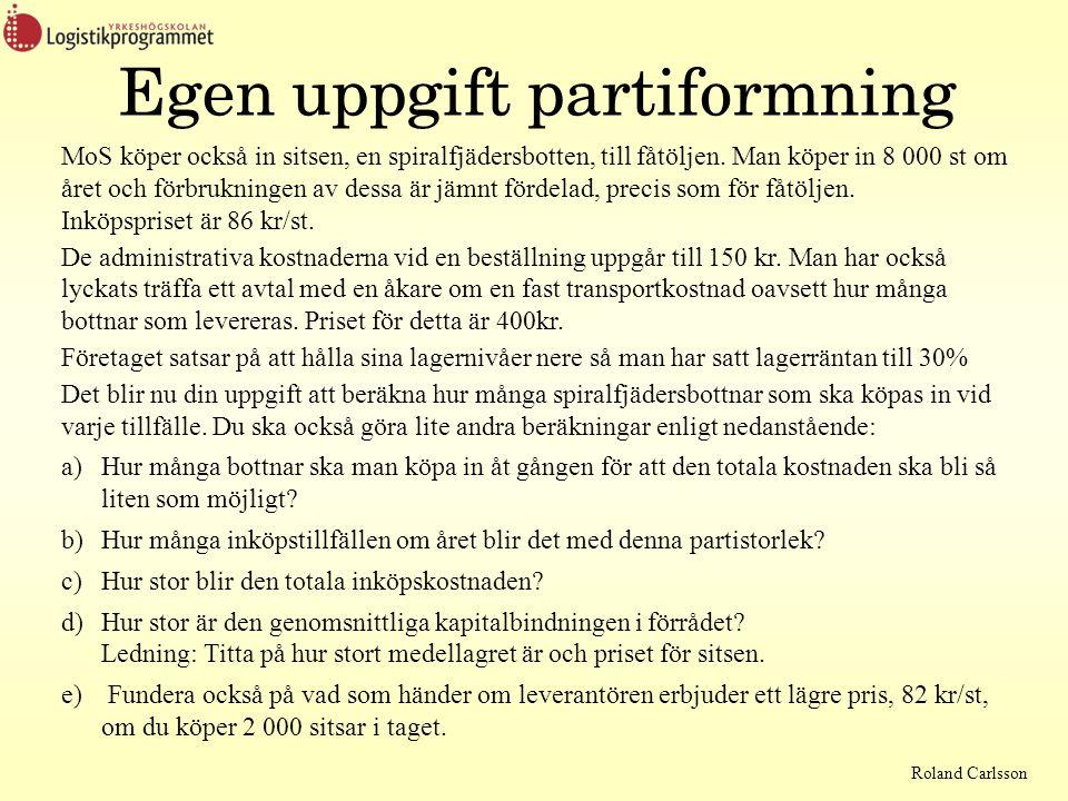 Roland Carlsson Egen uppgift partiformning MoS köper också in sitsen, en spiralfjädersbotten, till fåtöljen. Man köper in 8 000 st om året och förbruk