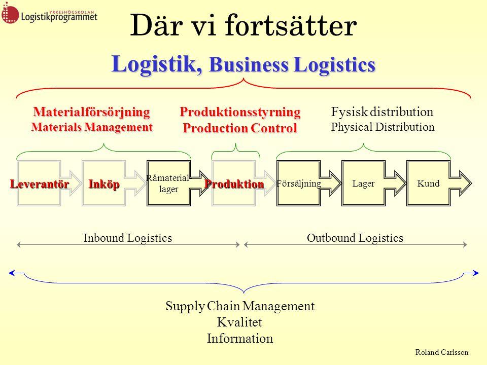 Roland Carlsson Där vi fortsätter Logistik, Business Logistics Supply Chain Management Kvalitet Information Materialförsörjning Materials Management P