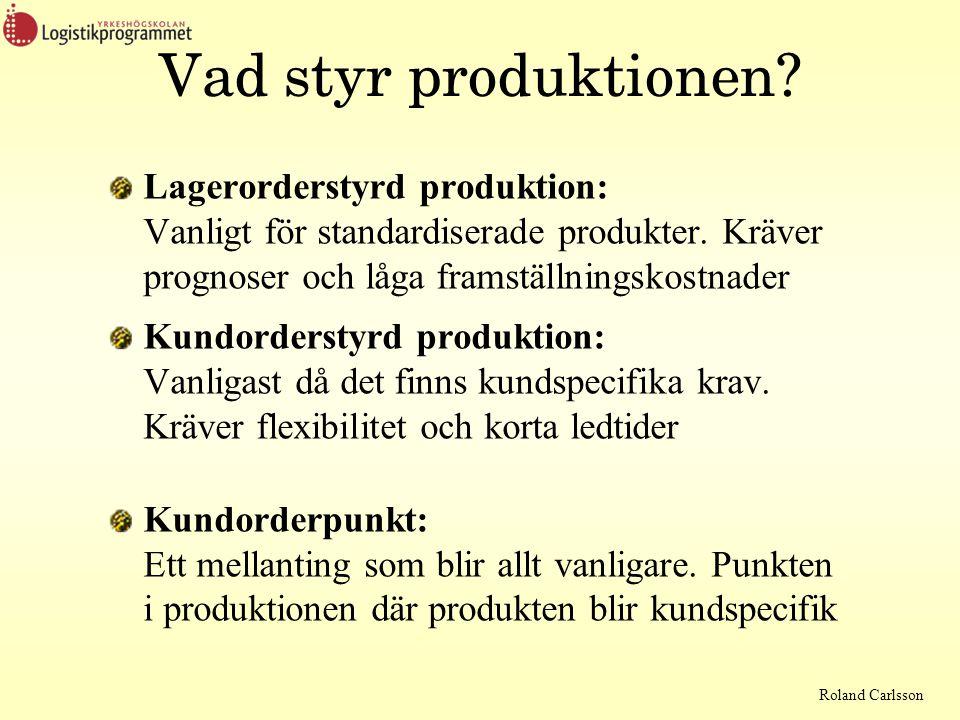 Roland Carlsson Vad styr produktionen? Lagerorderstyrd produktion: Vanligt för standardiserade produkter. Kräver prognoser och låga framställningskost