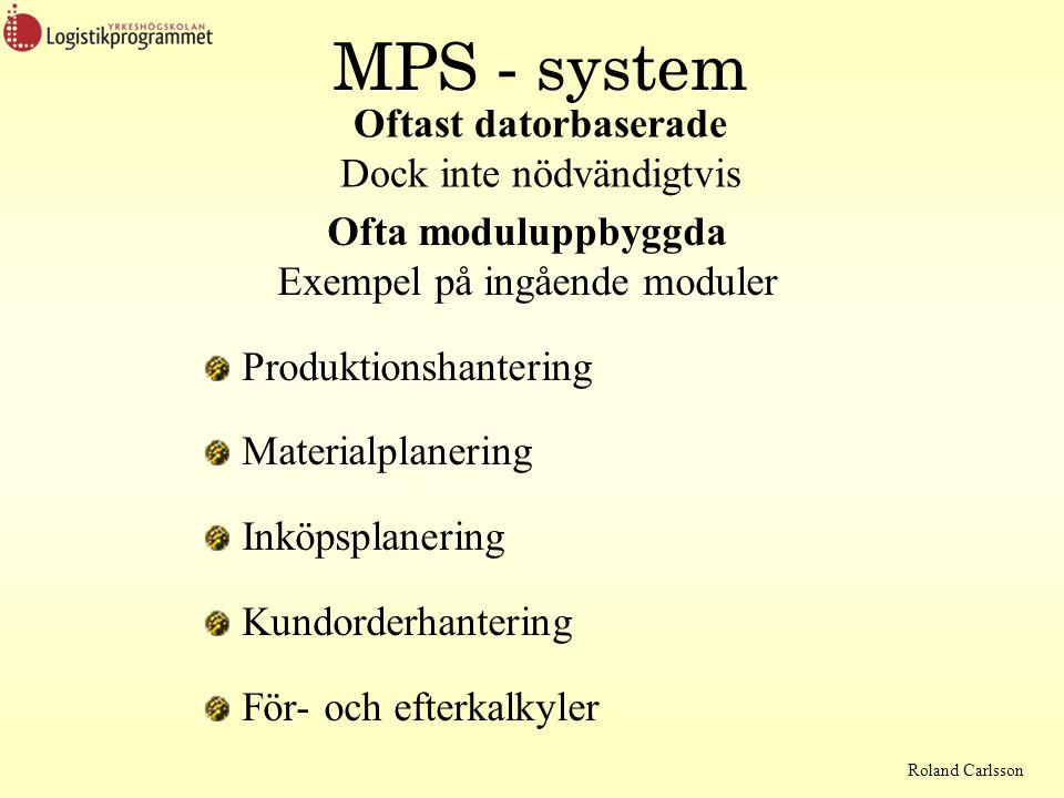 Roland Carlsson MPS - system Ofta moduluppbyggda Exempel på ingående moduler Produktionshantering Materialplanering Inköpsplanering Kundorderhantering För- och efterkalkyler Oftast datorbaserade Dock inte nödvändigtvis