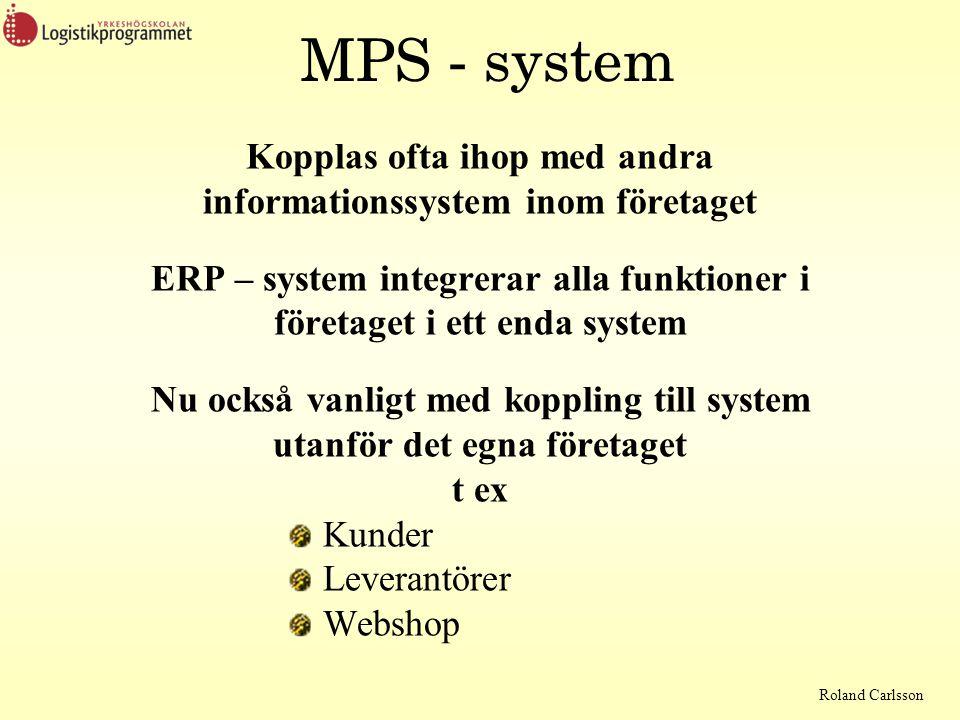 Roland Carlsson MPS - system Kopplas ofta ihop med andra informationssystem inom företaget ERP – system integrerar alla funktioner i företaget i ett enda system Nu också vanligt med koppling till system utanför det egna företaget t ex Kunder Leverantörer Webshop