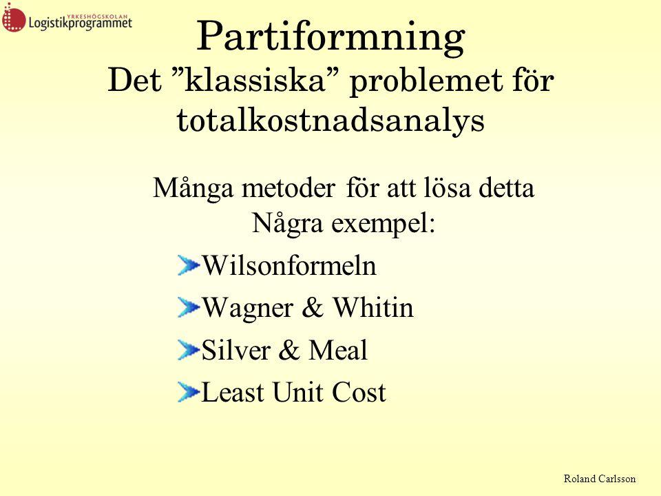 Roland Carlsson Partiformning Det klassiska problemet för totalkostnadsanalys Många metoder för att lösa detta Några exempel: Wilsonformeln Wagner & Whitin Silver & Meal Least Unit Cost