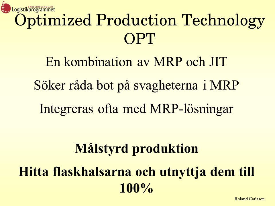 Roland Carlsson Optimized Production Technology OPT En kombination av MRP och JIT Söker råda bot på svagheterna i MRP Integreras ofta med MRP-lösningar Målstyrd produktion Hitta flaskhalsarna och utnyttja dem till 100%