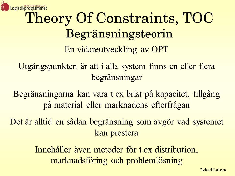 Roland Carlsson Theory Of Constraints, TOC Begränsningsteorin En vidareutveckling av OPT Utgångspunkten är att i alla system finns en eller flera begränsningar Begränsningarna kan vara t ex brist på kapacitet, tillgång på material eller marknadens efterfrågan Det är alltid en sådan begränsning som avgör vad systemet kan prestera Innehåller även metoder för t ex distribution, marknadsföring och problemlösning