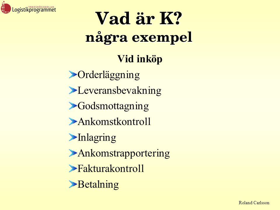 Roland Carlsson Vad är K? några exempel Vid inköp Orderläggning Leveransbevakning Godsmottagning Ankomstkontroll Inlagring Ankomstrapportering Faktura