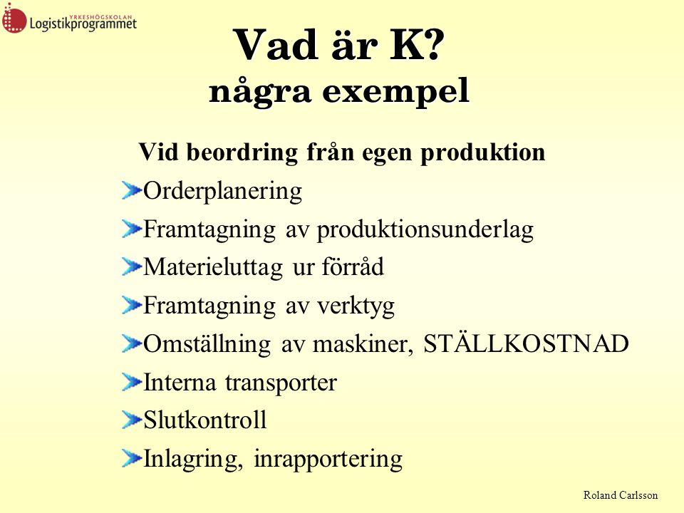 Roland Carlsson Vad är K? några exempel Vid beordring från egen produktion Orderplanering Framtagning av produktionsunderlag Materieluttag ur förråd F