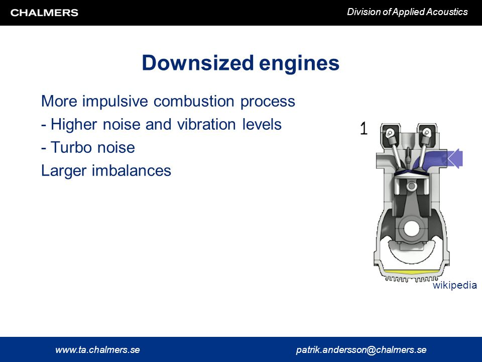 www.ta.chalmers.sepatrik.andersson@chalmers.se Division of Applied Acoustics (Hybrid) electrical vehicles Figures: Rust and Graf (2010) Generally lower noise from electrical powertrain...but annoying magnetic/electric high frequency tones, whining, start/stop transients...