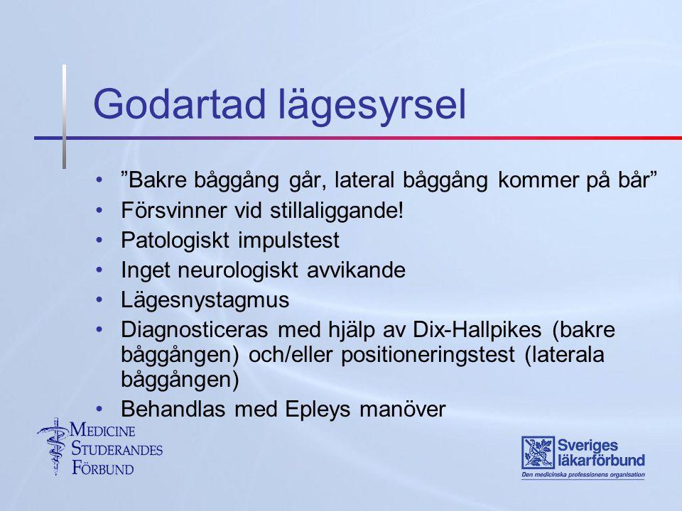 Godartad lägesyrsel Bakre båggång går, lateral båggång kommer på bår Försvinner vid stillaliggande.