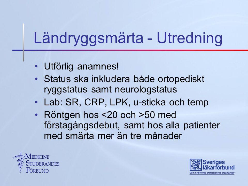 Ländryggsmärta - Utredning Utförlig anamnes.