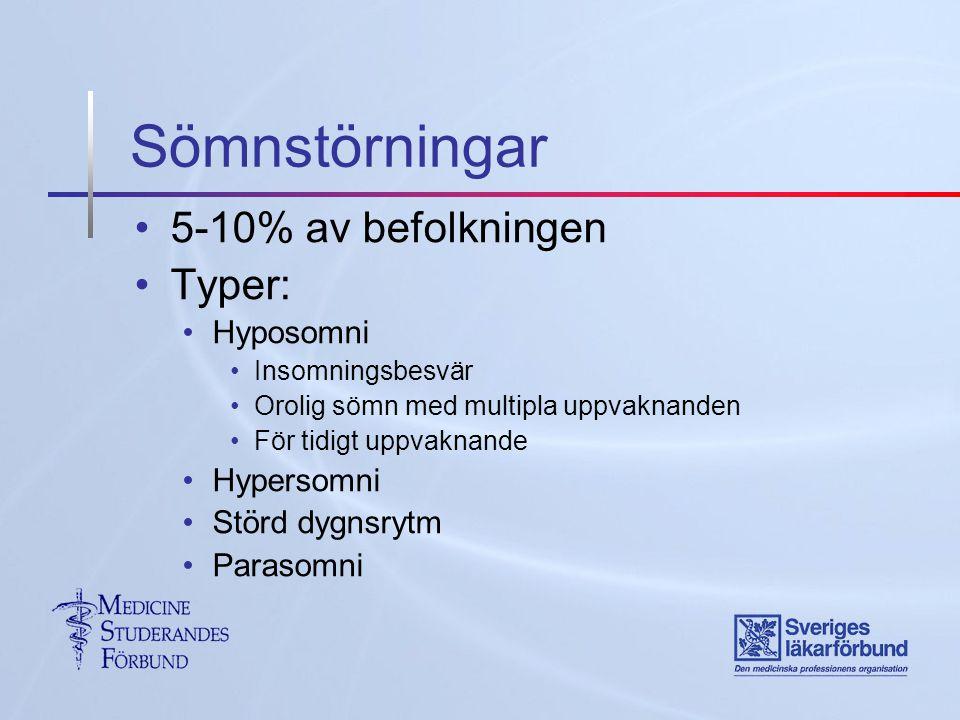 5-10% av befolkningen Typer: Hyposomni Insomningsbesvär Orolig sömn med multipla uppvaknanden För tidigt uppvaknande Hypersomni Störd dygnsrytm Parasomni