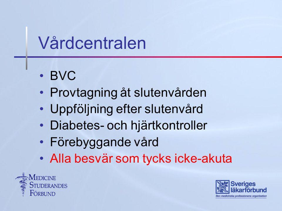 Vårdcentralen BVC Provtagning åt slutenvården Uppföljning efter slutenvård Diabetes- och hjärtkontroller Förebyggande vård Alla besvär som tycks icke-akuta