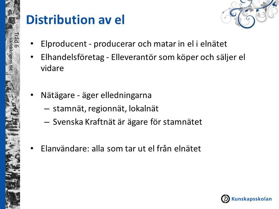 Distribution av el Elproducent - producerar och matar in el i elnätet Elhandelsföretag - Elleverantör som köper och säljer el vidare Nätägare - äger e