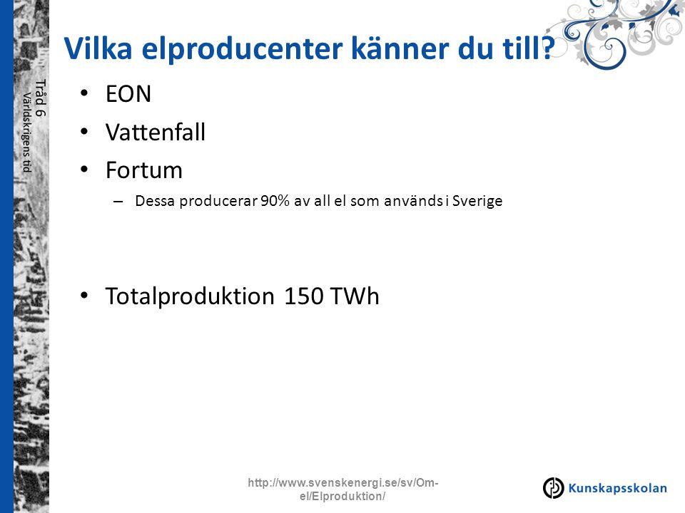Vilka elproducenter känner du till? EON Vattenfall Fortum – Dessa producerar 90% av all el som används i Sverige Totalproduktion 150 TWh http://www.sv