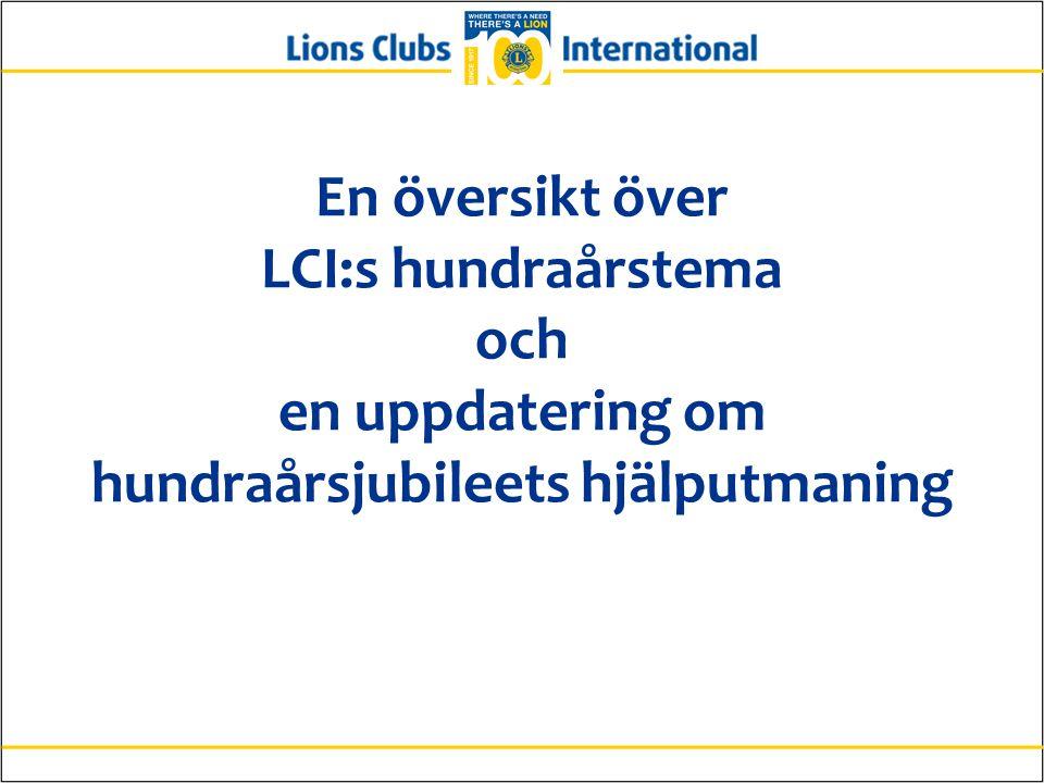 En översikt över LCI:s hundraårstema och en uppdatering om hundraårsjubileets hjälputmaning