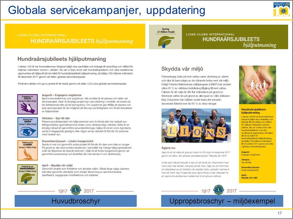 17 Globala servicekampanjer, uppdatering Huvudbroschyr Uppropsbroschyr – miljöexempel