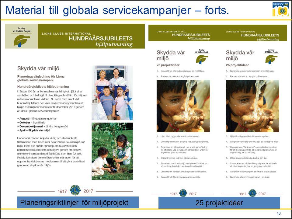 18 Material till globala servicekampanjer – forts.