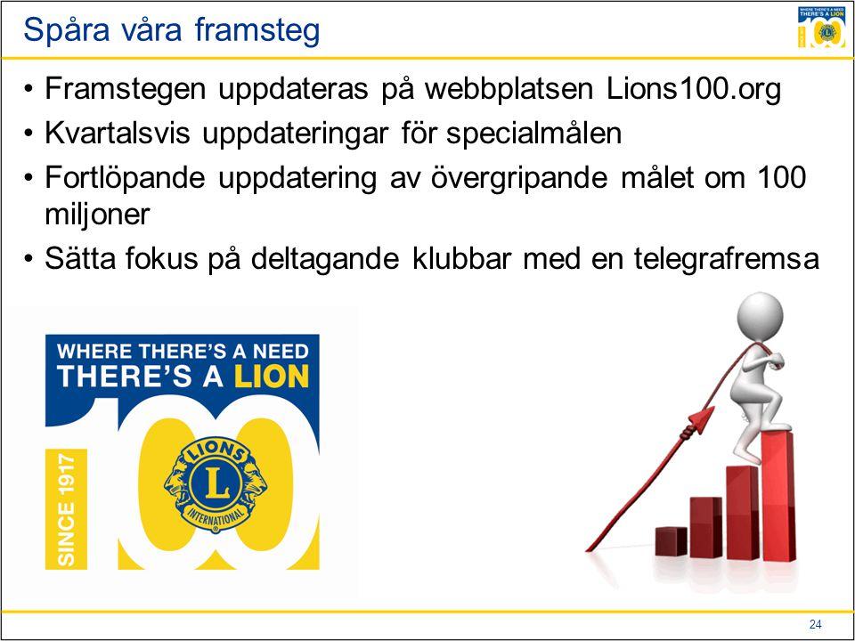 24 Spåra våra framsteg Framstegen uppdateras på webbplatsen Lions100.org Kvartalsvis uppdateringar för specialmålen Fortlöpande uppdatering av övergripande målet om 100 miljoner Sätta fokus på deltagande klubbar med en telegrafremsa