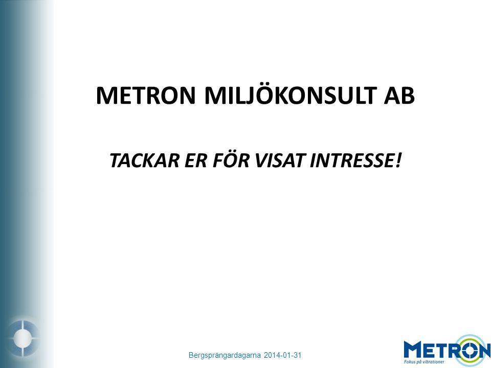 Bergsprängardagarna 2014-01-31 METRON MILJÖKONSULT AB TACKAR ER FÖR VISAT INTRESSE!