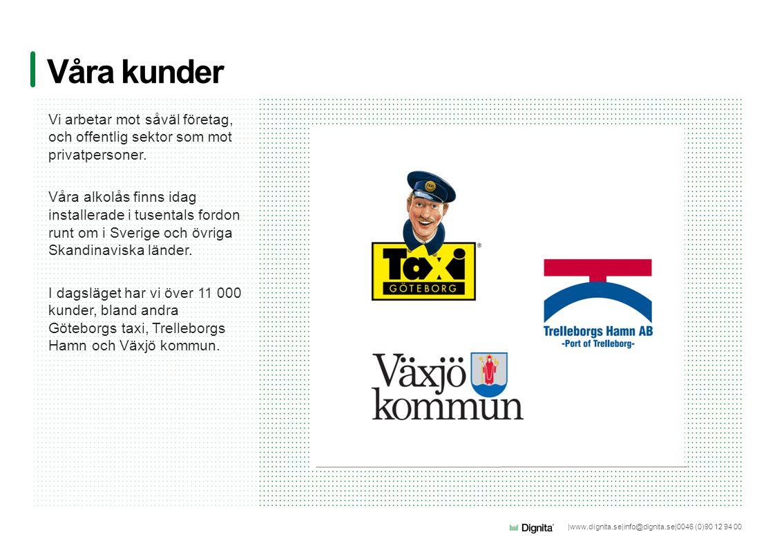 |www.dignita.se|info@dignita.se|0046 (0)90 12 94 00 Våra kunder Vi arbetar mot såväl företag, och offentlig sektor som mot privatpersoner. Våra alkolå