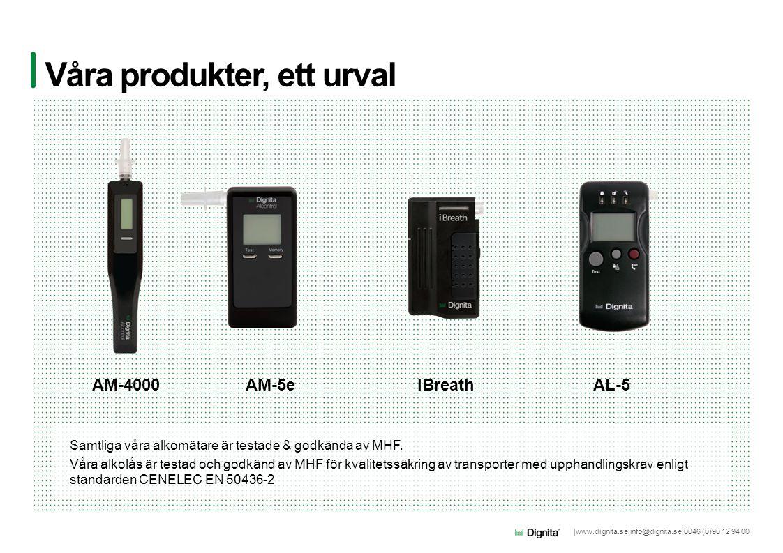 |www.dignita.se|info@dignita.se|0046 (0)90 12 94 00 Våra produkter, ett urval AM-4000AM-5e Samtliga våra alkomätare är testade & godkända av MHF. Våra